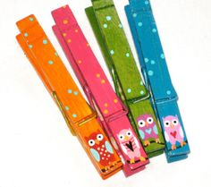 OWL CLOTHESPINS  hand painted magnetic pegs by SugarAndPaint, $11.00