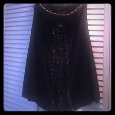 Jewel encrusted black strapless dress Black Jewel encrusted mini dress. Size 6 bebe Dresses Mini