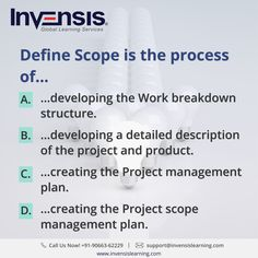Define Scope is the process of... Want to improve  your CAPM knowledge? Earn 45 PDUs with our CAPM certification training , Denmark. Please visit www.invensislearning.com for more information on our upcoming CAPM courses  and around the world. #CAPMExam #CAPM #CAPMTraining #CAPMQuestion #CAPMCertification