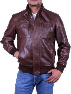 4419e58485bd Mens All Leather Biker Jacket Vintage Look Brown Biker Style   123