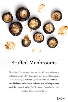 Stuffed Mushrooms recipe. Amazing before a dinner party. Great when served hot or cold. Hands down, it's one of the best snacks to serve at a party.