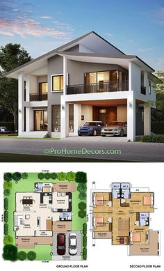 Best Small House Designs, Small Modern House Plans, Beautiful House Plans, Contemporary House Plans, Two Story House Design, 2 Storey House Design, Classic House Design, Sims House Design, Modern Bungalow Exterior