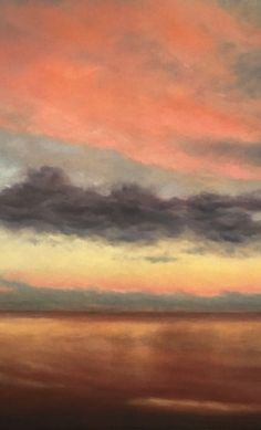 Evening Skies Over Mundesley - Detail of Oil on Canvas. Original landscape painting by Nial Adams.