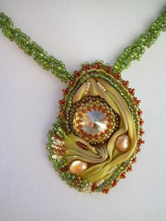 Shibori silk boho necklace beaded bead embroidered Swarovski crystal lime green and caramel summer accessory on Etsy,  AUD