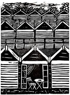 Lino print beach huts