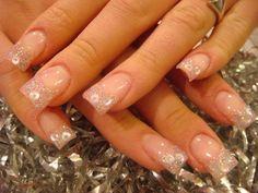 light pink glitter acrylic nails