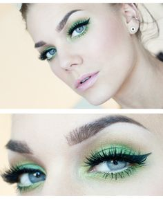 green eye makeup - perfect look for summer! This would be gorgeous with brown eyes also.