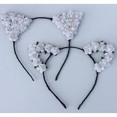 Vanessa Hudgens White Flower cat ears headband, floral cat ears,... ($17) ❤ liked on Polyvore featuring accessories, hair accessories, floral headband, leaf headband, floral headwrap, flower hair accessories and headband hair accessories