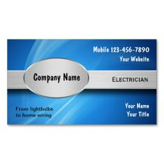 Electrician Business Cards. This great business card design is available for customization. All text style, colors, sizes can be modified to fit your needs. Just click the image to learn more!