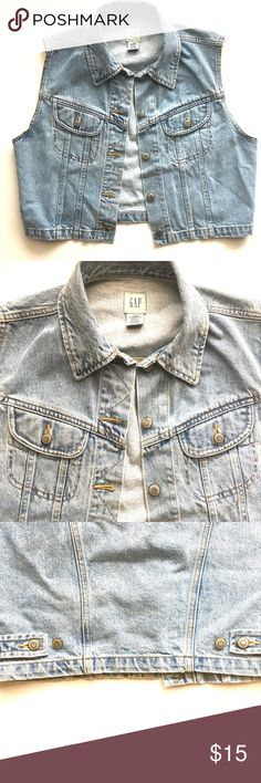 """GAP Denim Vest Denim vest by GAP. 5 closure buttons. Adjustable button in the back . 2 flap pockets at the front . Collar. Shoulder to Seam 17.5"""" . Great for layering . Jackets & Coats Vests"""