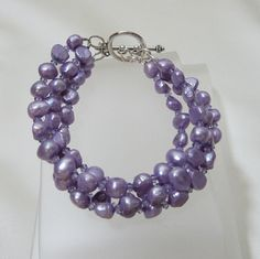 Lilac 4 Strand Pearl and Crystal Bracelet by tbyrddesigns on Etsy, $39.00