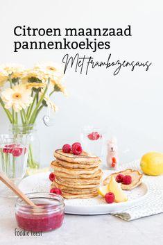 Citroen maanzaad pannenkoekjes met frambozensaus Brownies, Cereal, Breakfast, Food, Breakfast Cafe, Essen, Yemek, Meals