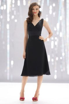 V-neck A-line with ruffle embellishment bridesmaid dress
