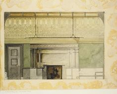 Louis Confort Tiffany - Design for Henry Memorial gallery at the Art Institute of Chicago (1894)