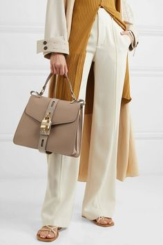 Chloé - Aby smooth and textured-leather shoulder bag World Of Fashion, Fashion Online, Chloe Sandals, Mature Fashion, Neutral Outfit, Ribbed Cardigan, Wide Leg Pants, Leather Shoulder Bag, Luxury Fashion