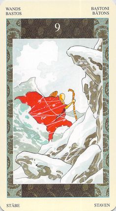 """nine of wands samurai tarot - The monk Nichiren struggling through a snowy pass in the mountains.     """"If your heart remains steadfast, the ice becomes hot, the snow warm."""" –Nichiren"""