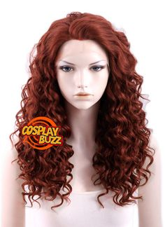 "20"" Long Spiral Reddish Brown Lace Front Synthetic Hair Wig LF053 - CosplayBuzz"