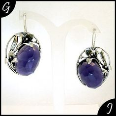 Purple Amethyst Earrings 925 Sterling Silver by GumushJewelry, $118.00