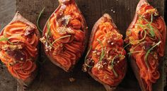 Spuds:Twice baked sweet potatoes.