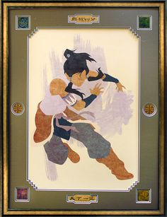 Korra illustration framed with rustic bronze frame and custom mat board openings.   Have art from your favorite show or movie framed at Art & Frame Express in Edison, NJ!