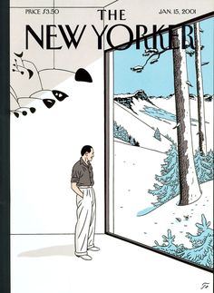 """The New Yorker - Monday, January 2001 - Issue # 3920 - Vol. 76 - N° 42 - Cover """"In and Out"""" by """"Floc'h"""" - Jean-Claude Floch The New Yorker, New Yorker Covers, Cover Art, Tomer Hanuka, Magazin Covers, Ligne Claire, Vintage Magazines, Illustrations And Posters, Easy Drawings"""