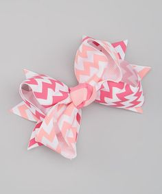 Love this Pink & White Zigzag Thick Bow by Picki Nicki Hair Bowtique on #zulily! #zulilyfinds