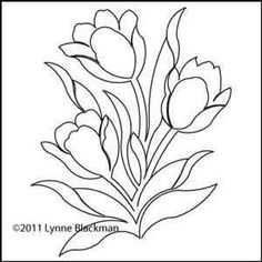 Digital Quilting Design Lynne's Tulips by Lynne Blackman. Tole Painting Patterns, Stencil Patterns, Mosaic Patterns, Christmas Embroidery Patterns, Needlepoint Patterns, Leaf Drawing, Bullet Journal Art, Mosaic Crafts, Flower Doodles
