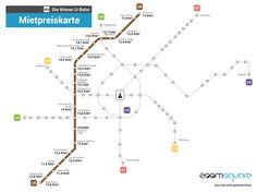 Wien U6 Mietpreiskarte  Durchschnittliche Mietpreise entlang der U6 U Bahn, Vienna, Line Chart, Blog, Map, Infographics, Random, Property Prices, New Home Essentials