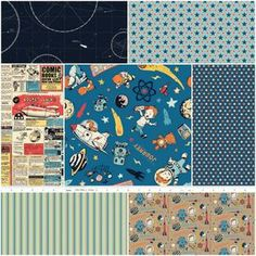 Rocket Age Fat Quarter Bundle in Blue