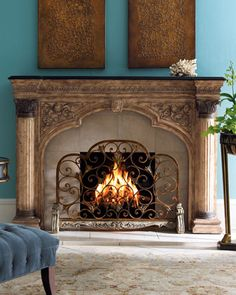 Arched Fireplace Screen Beautifully patterned fireplace screen adds visual interest to the fireplace.