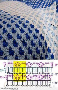 58 ideas for crochet afghan blanket pattern stitches Crochet Afghans, Crochet Stitches Patterns, Baby Blanket Crochet, Crochet Designs, Afghan Blanket, Blanket Stitch, Crochet Blankets, Crochet Diagram, Crochet Chart