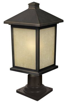 Z-Lite 507PHB-533PM Holbrook 1 Light Outdoor Pier Mount Light with White Seedy S