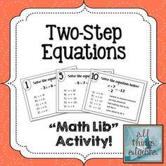 "Two-Step Equations ""Math Lib"" Activity!"