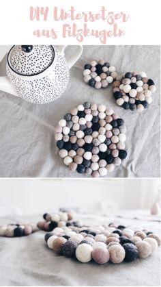 {Anzeige} DIY Untersetzer aus Filzkugeln – Boho and Nordic Diy Home Crafts, Easy Diy Crafts, Diy Crafts To Sell, Crafts For Teens To Make, Diy For Teens, Diy Interior, Diy Cadeau Noel, Diy Coasters, Felt Ball