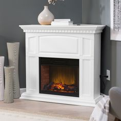 Roanoke 23 in. Convertible LED Electric Fireplace - White - Fireplaces and Inserts at Hayneedle