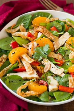 Mandarine Orange Spinach Salad with Chicken and Lemon Honey Ginger Dressing - this was one of the best salads Ive ever eaten, my mom said the same too! DELICIOUS!! The dressing is to die for!