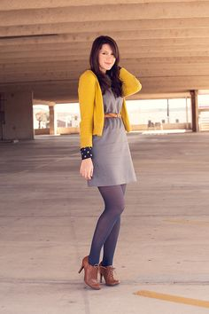 navy polka dot dress under grey dress - topped with mustard cardi + belt, grey tights + booties Try this with sleeveless denim dress and navy blouse Pantyhose Outfits, Heels Outfits, Fall Outfits, Casual Outfits, Cute Outfits, Look Fashion, Autumn Fashion, Fashion Outfits, Womens Fashion