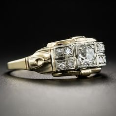 Art Deco Retrospective Two Tone Gold Diamond Ring - Art Deco Jewelry - Vintage Jewelry
