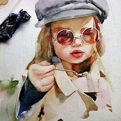 Inspiring Art works from Watercolor Paintings For Beginners, Watercolor Portraits, Watercolor Sketch, Watercolor Illustration, Turtle Painting, Old Art, Pictures To Paint, Portrait Art, Traditional Art