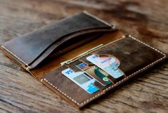 Rustic Leather Wallet Style Mens Distressed Leather by JooJoobs