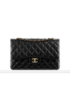 CHANEL Classic flap bag in quilted caviar black calfskin leather with gold hardware  :: this bag will be mine one day!