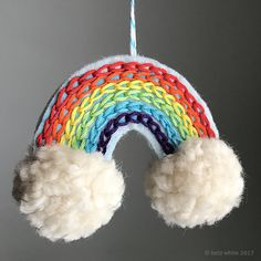 a014b8b6f4f97c Betz White Rainbow Ornament Tutorial with pompoms Jesse Tree Ornaments