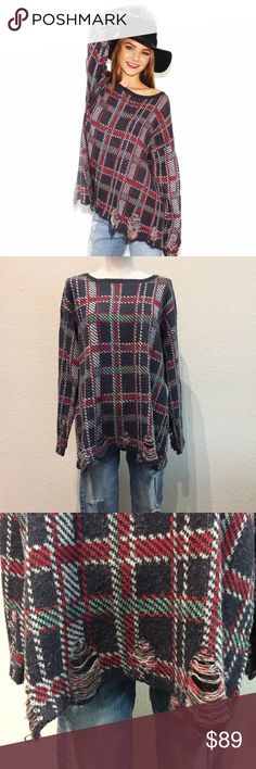 Wildfox All Over Destructed Plaid Sweater Wildfox Couture All Over Plaid Sweater Size Small Retail $198  A Wildfox sweater with a borrowed-from-the-boys feel has grunge appeal with shredded spots and a lively plaid pattern. Dropped shoulder seams accentuate the slouchy silhouette. Ribbed neckline. Long, loose sleeves.  35% Acrylic, 35% Viscose, 23% Nylon, 7% Wool Dry Clean Only Imported. (The majority of Wildfox clothing is made in the USA, with the exception of sweaters)  Bust laying flat…