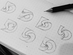 Experimental/sketching stage of a logo