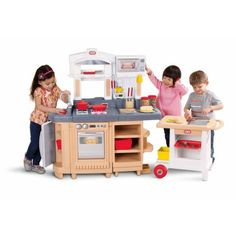 """Cook Around Kitchen and Cart - Little Tikes - Toys """"R"""" Us Storage Canisters, Storage Cart, Storage Shelves, Toy Kitchen, Kitchen Sets, Kitchen Cart, Chef Kitchen, Kitchen Storage, Kitchen Dining"""