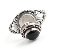 Vintage Sterling Silver Poison Ring - Black Onyx Stone Size 6 1/2 Retro Locket Jewelry / Secret Compartment by Maejean Vintage, $38.00