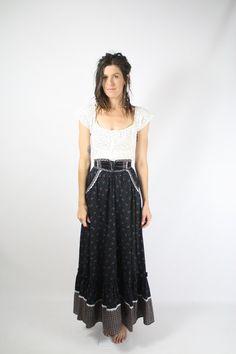 70s Gunne Sax maxi skirt  1970s Prairie bohemian skirt #renewvintage