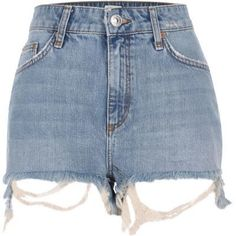 Light blue wash denim Extreme frayed hem detail High waisted Button fly fastening Five pockets and belt loops High Rise Shorts, High Rise Jeans, High Waisted Shorts, Waisted Denim, Denim Shorts Style, Blue Jean Shorts, Blue Denim, Perrie Edwards Style, Givenchy