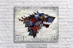 Game of Thrones Poster Stark House Crest Geek art  by ArtPopTart, $25.00
