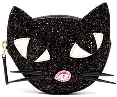 Shop| The Lulu Guinness Women's Kooky Cat Glitter Coin Purse Black will go with everything.